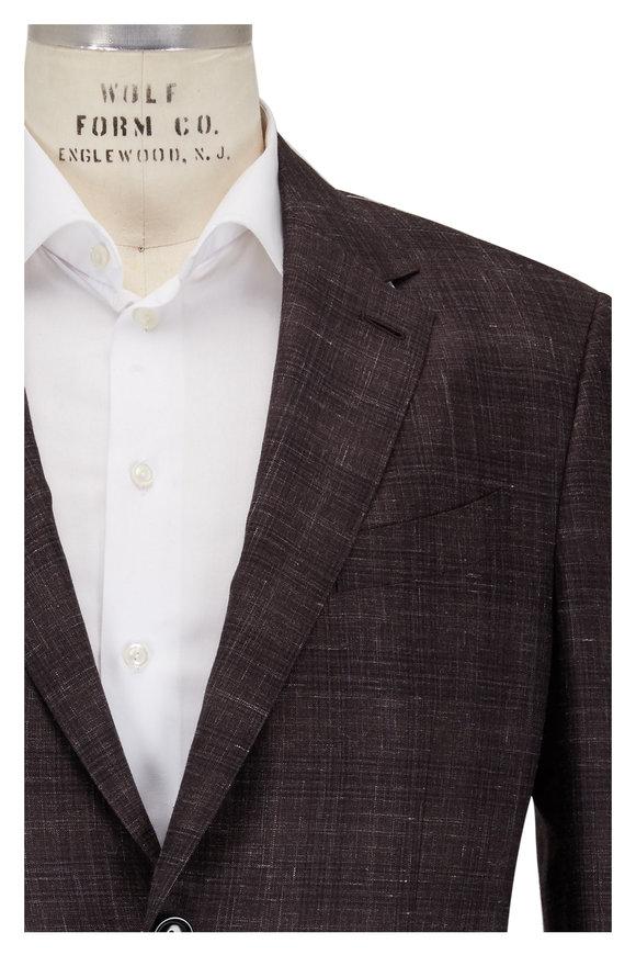 Ermenegildo Zegna Brown Crosshatch Cashmere, Silk & Linen Sportcoat