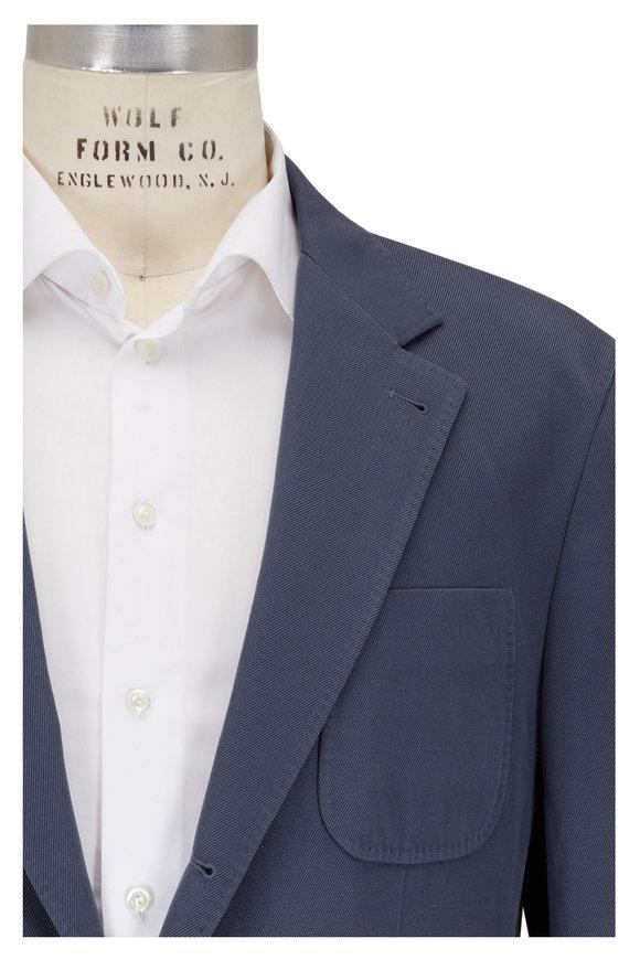 Brunello Cucinelli Blue Cotton & Linen Sportcoat