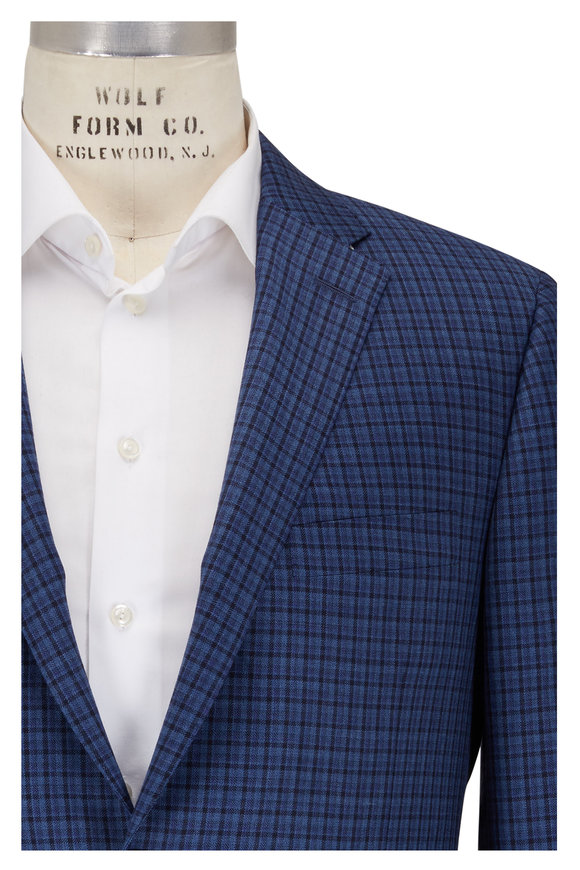 Hickey Freeman Beacon Wool Blue Check Traveler Sportcoat