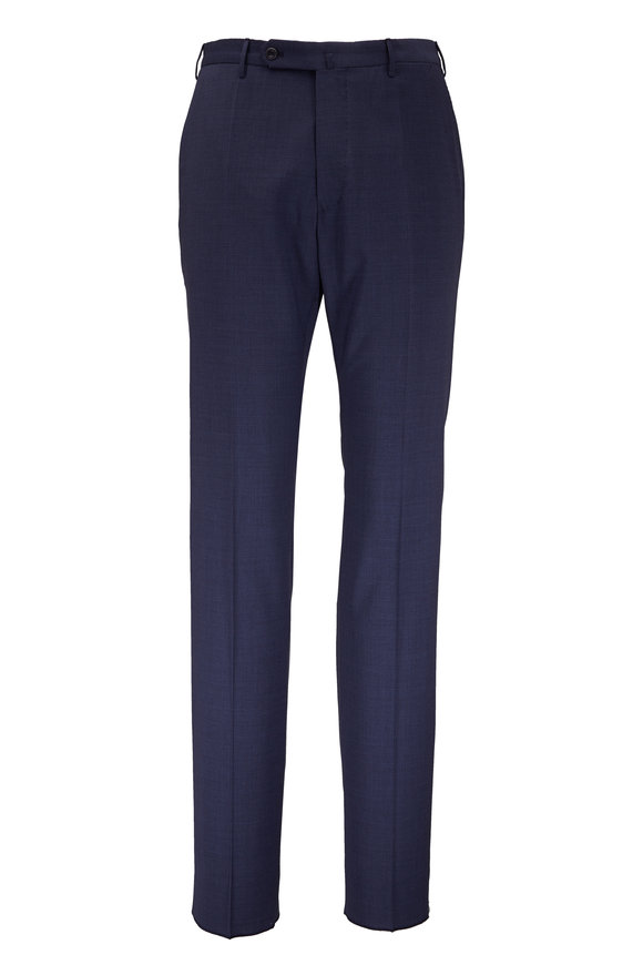 Incotex Benson Navy Blue Wool Micro Check Pant