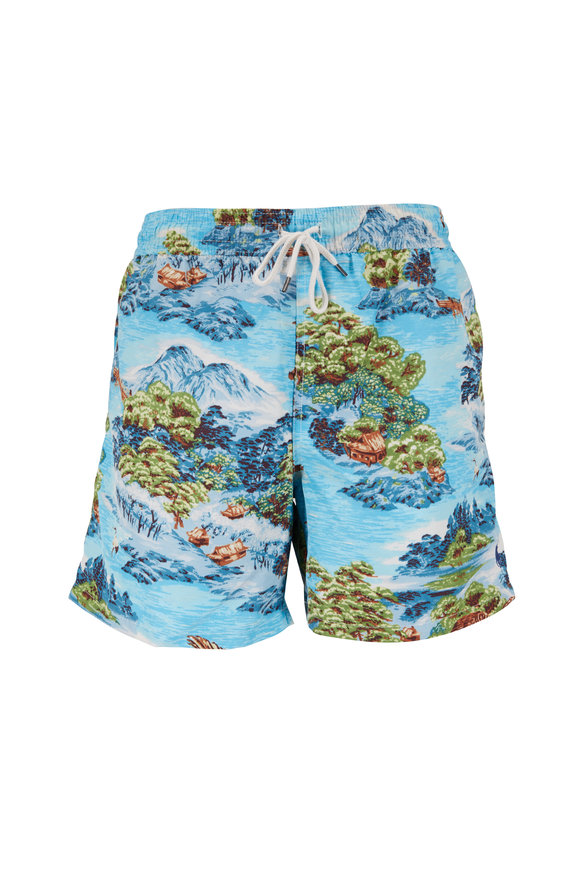 Polo Ralph Lauren Aqua Hawaiian Landscape Print Swim Trunks