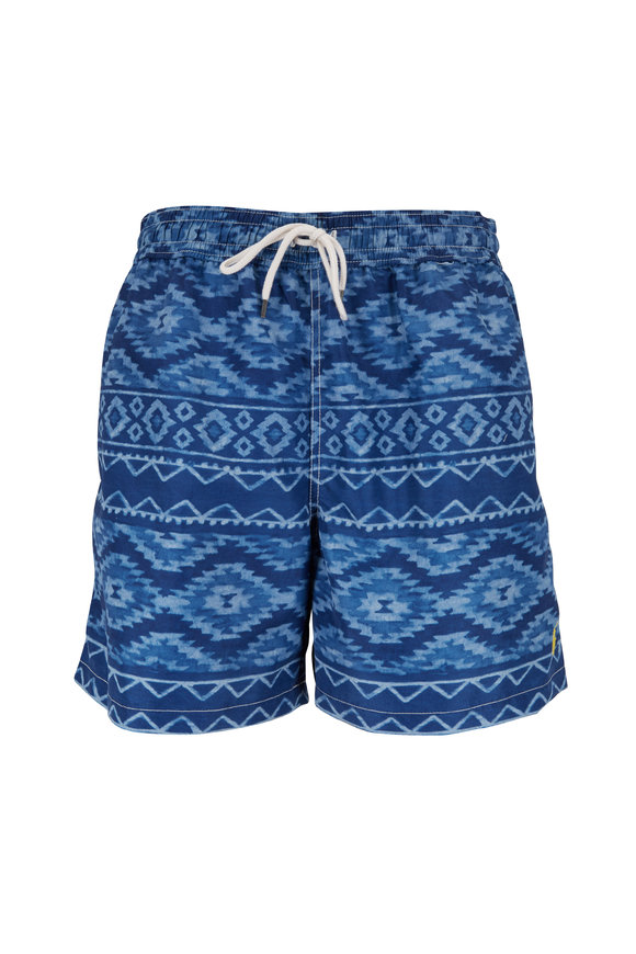 Polo Ralph Lauren Indigo Trade Blanket Print Swim Trunks