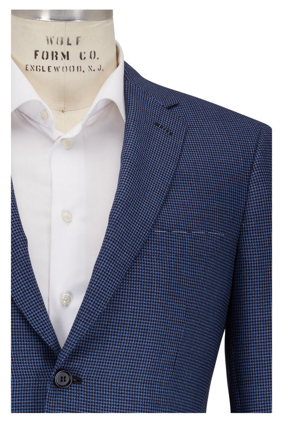 Brioni Blue Wool Micro Houndstooth Sportcoat