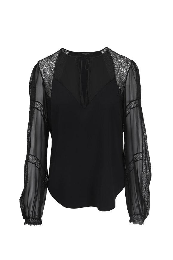 Norisol Ferrari Black Silk Charmeuse & Lace Peasant Blouse