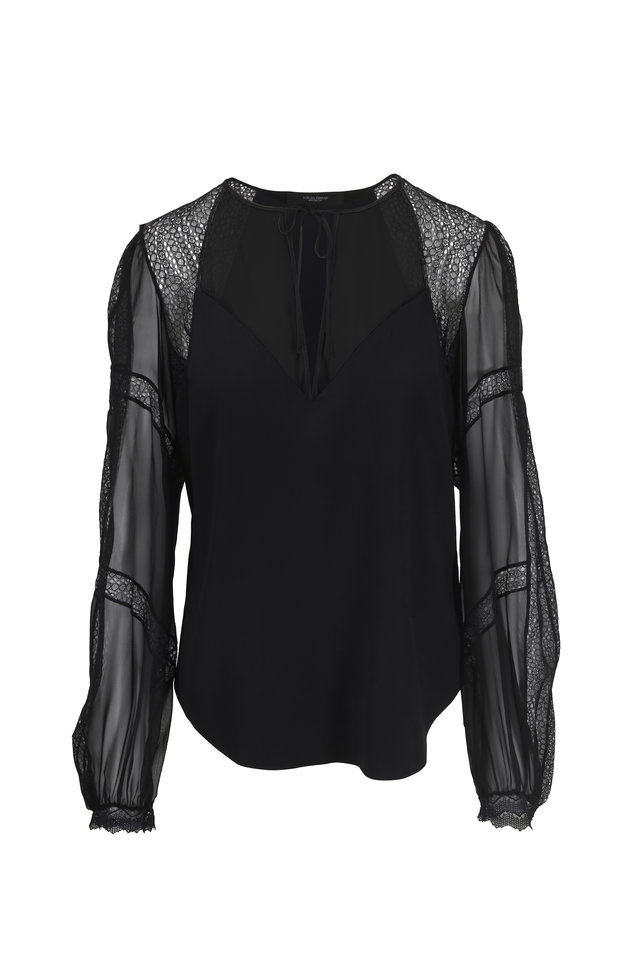 Black Silk Charmeuse & Lace Peasant Blouse