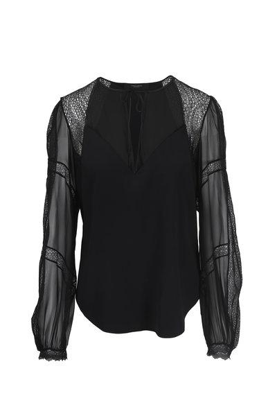 Norisol Ferrari - Black Silk Charmeuse & Lace Peasant Blouse