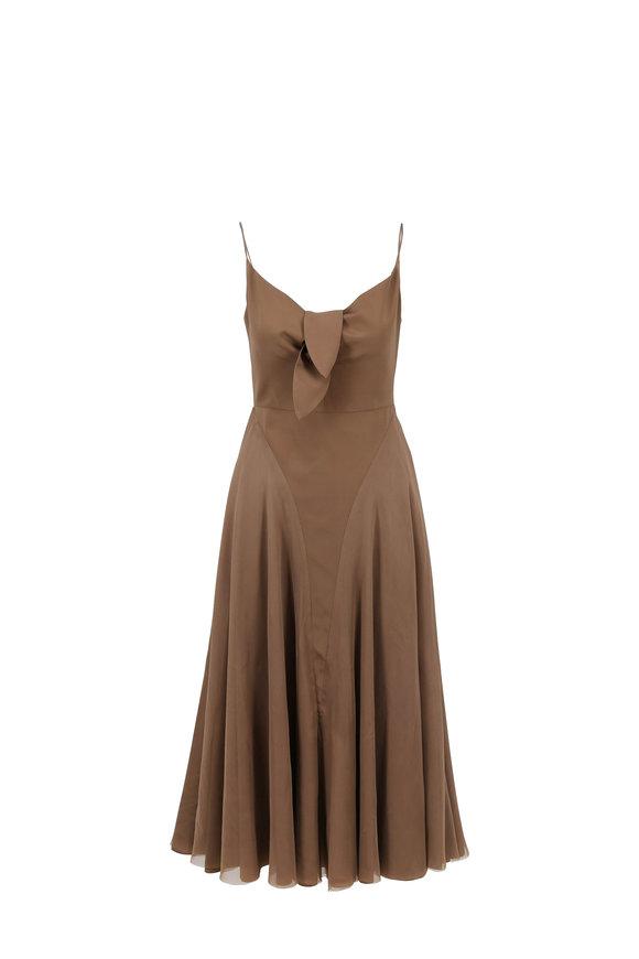 Norisol Ferrari Bronze Stretch Silk Tie Front Sleeveless Dress
