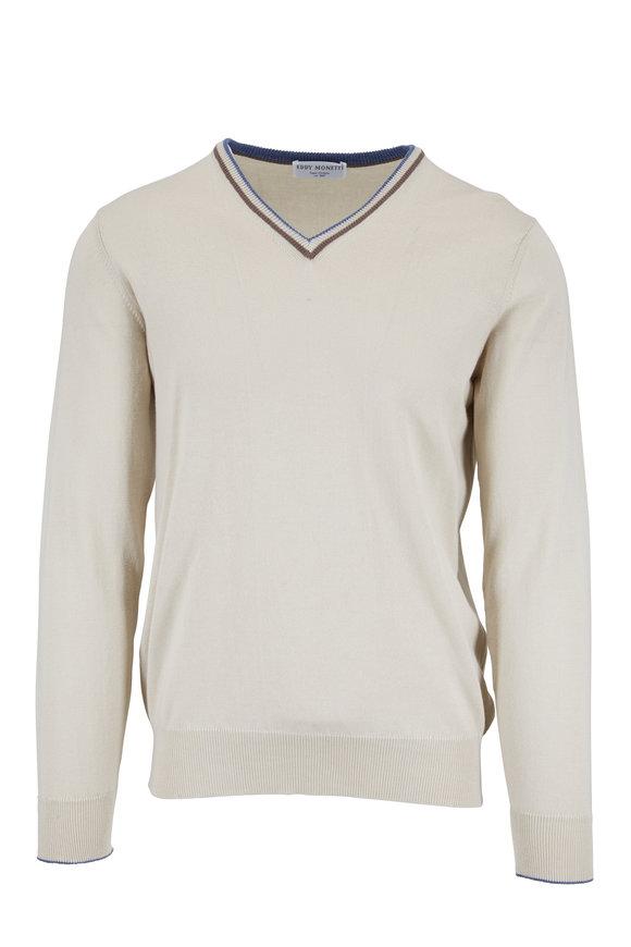 Eddy Monetti Beige Cotton V-Neck Sweater