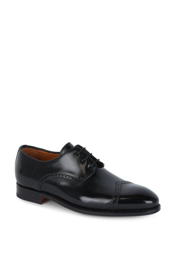 Bontoni Latino Black Leather Derby Shoe