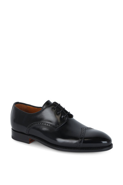 Bontoni - Latino Black Leather Derby Shoe