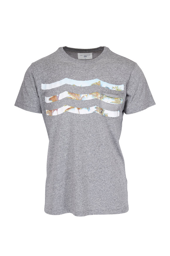 Sol Angeles Heather Gray Palm Waves Crewneck T-Shirt