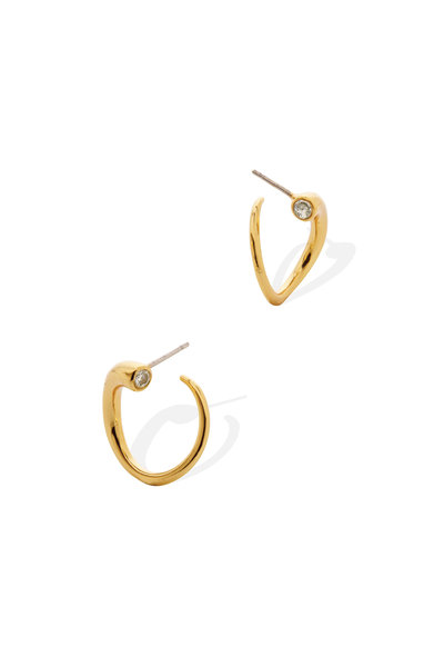 Amanda Pearl - 18K Yellow Gold Plated Cubic Zirconia Quill Hoops