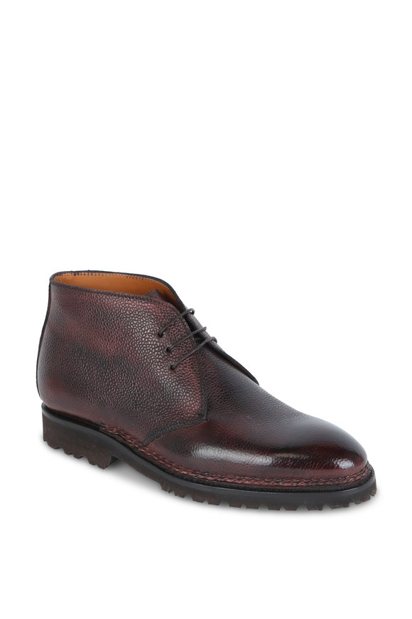 Bontoni Desert Wine Pebbled Leather Chukka Boot