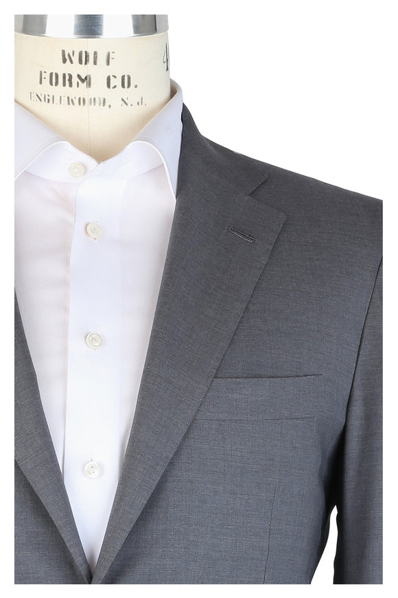 Kiton Solid Light Gray Wool Suit