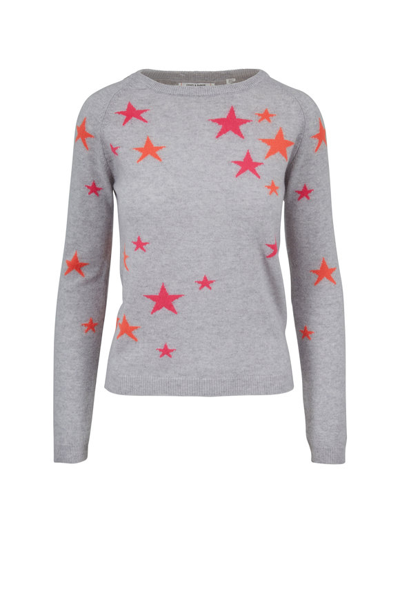 Chinti & Parker Light Gray Cashmere Star Sweater
