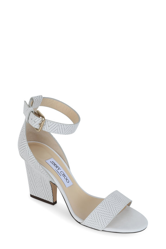 Jimmy Choo Edina Latte Embossed Ankle Strap Sandal, 85mm
