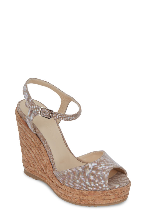 Jimmy Choo Perla Natural Textured Leather Bombe Wedge, 120mm