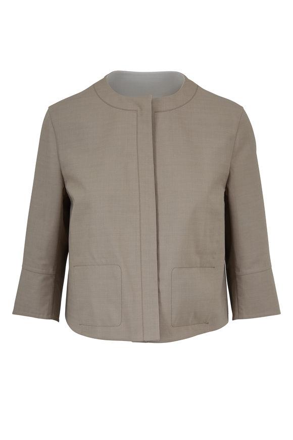 Akris Taupe & Paper Cotton Reversible Jacket