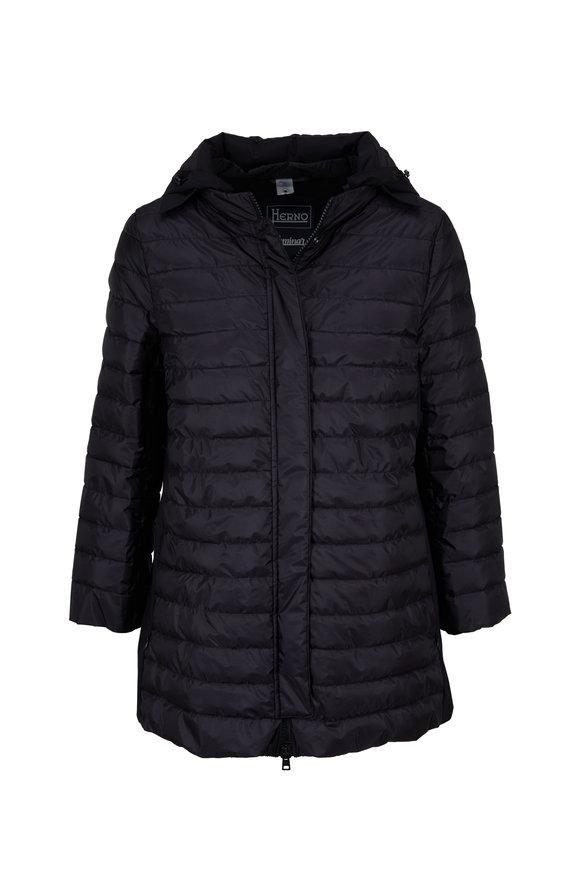 Herno Laminar Black Three-Quarter Sleeve A-Line Jacket