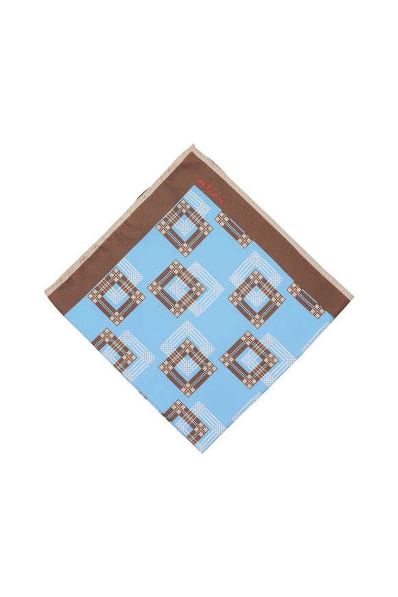 Kiton Light Blue & Brown Geometric Silk Pocket Square
