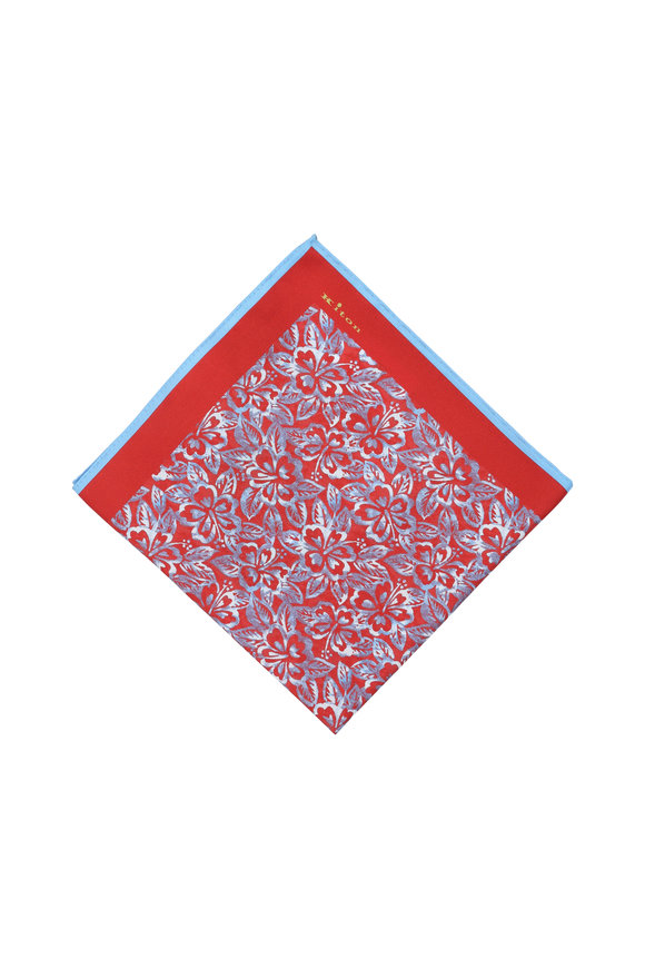 Kiton Red Floral Silk Pocket Square