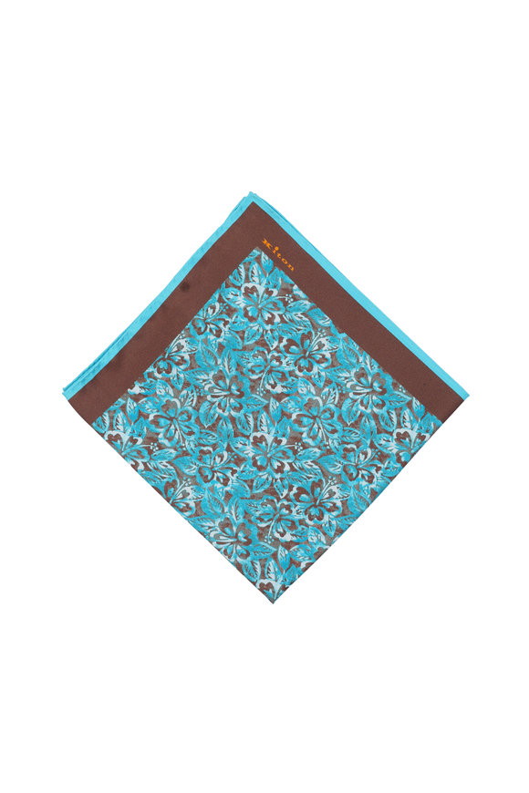 Kiton Brown & Turquoise Floral Silk Pocket Square