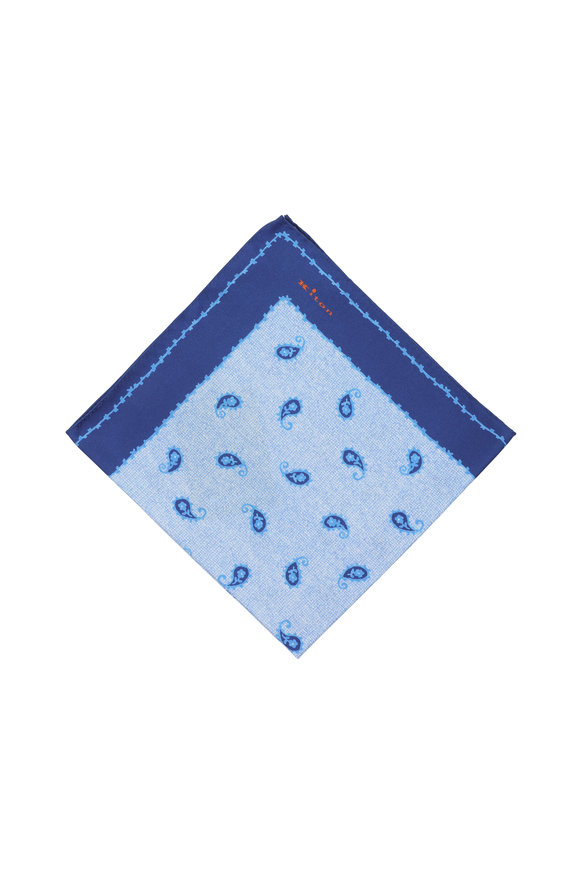 Kiton Blue Paisley Silk Pocket Square