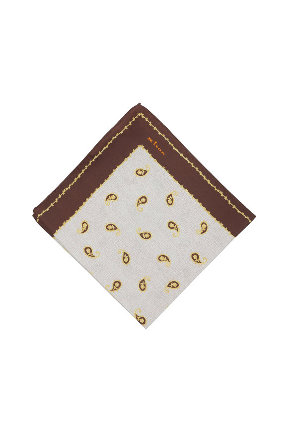 Kiton Brown Paisley Silk Pocket Square
