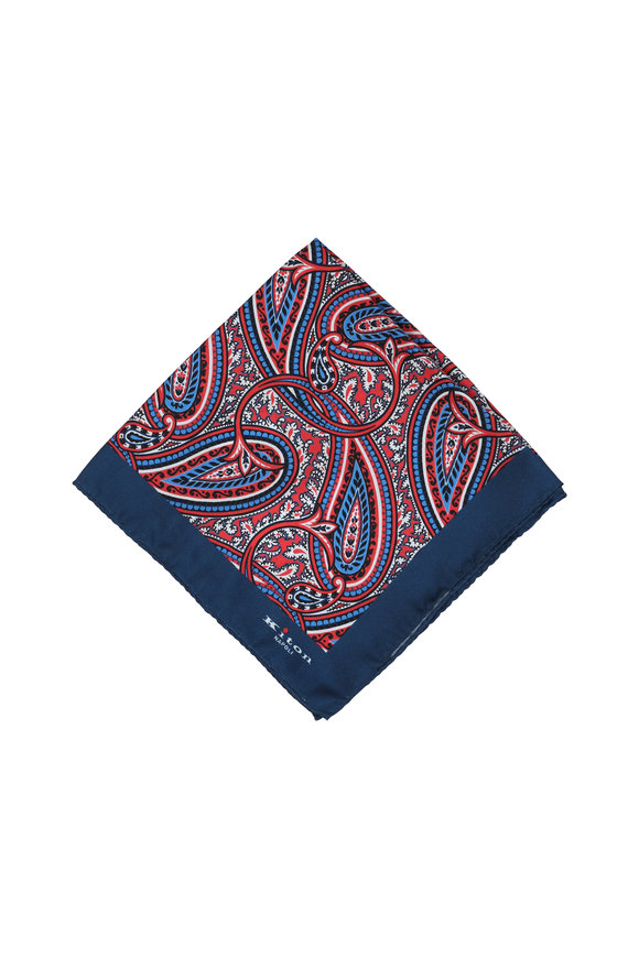 Kiton Navy Blue Paisley Silk Pocket Square