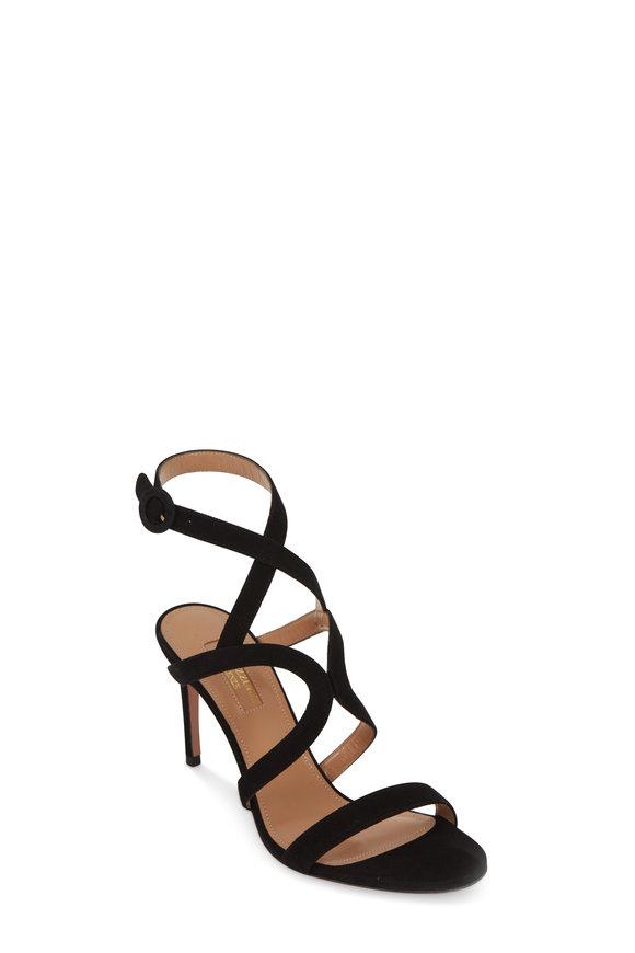 Aquazzura Morena Black Suede Sandal, 85mm