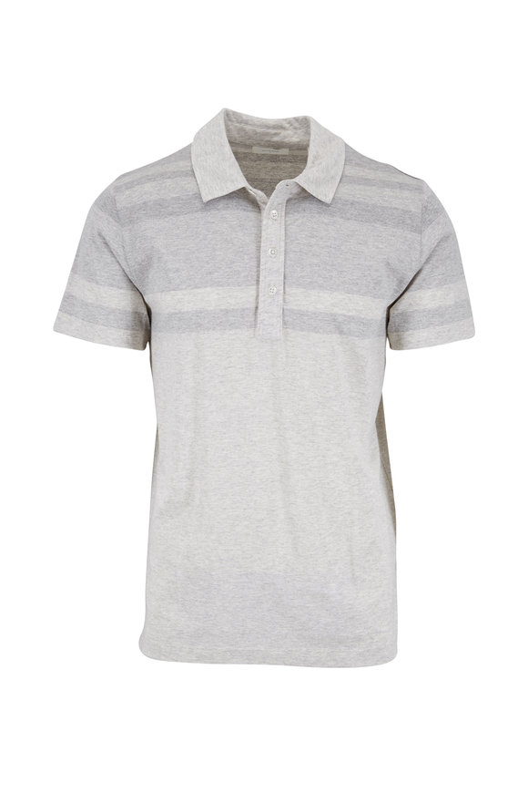 Billy Reid Natural & Light Gray Striped Short Sleeve Polo