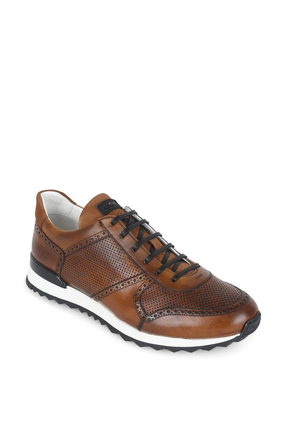 Kiton Brown Perforated Leather Sneaker