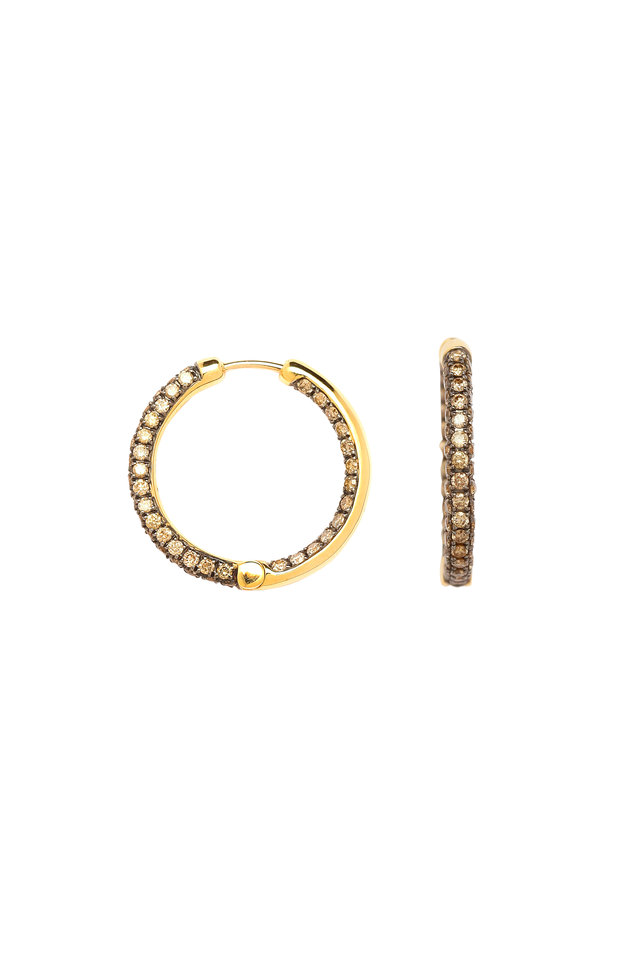 Yellow Gold Champagne Diamond Round Hoops