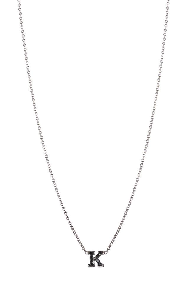 "White Gold Black Diamond ""J"" Necklace"