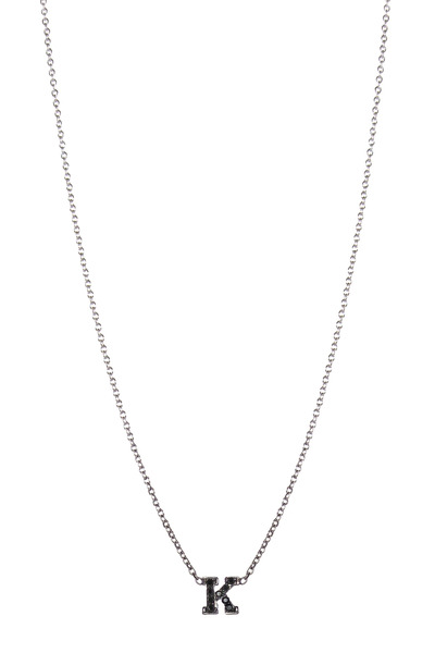 "Zoe Chicco - White Gold Black Diamond ""J"" Necklace"