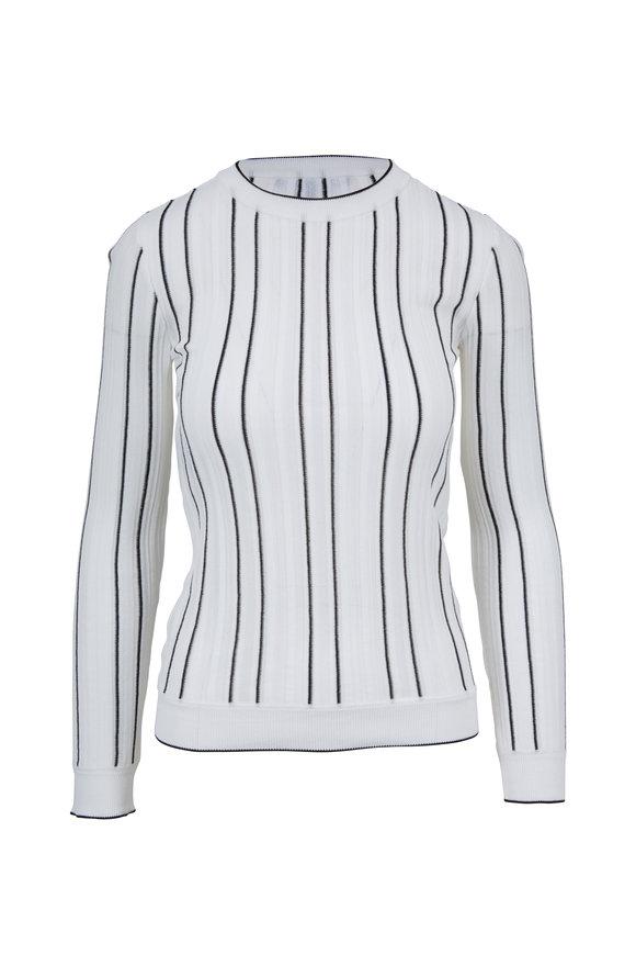 Derek Lam White & Black Vertical Striped Sweater