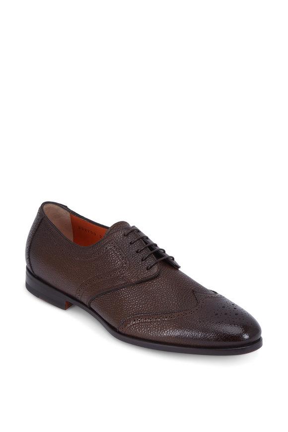 Santoni Halsey Dark Brown Antiqued Leather Wingtip Oxford