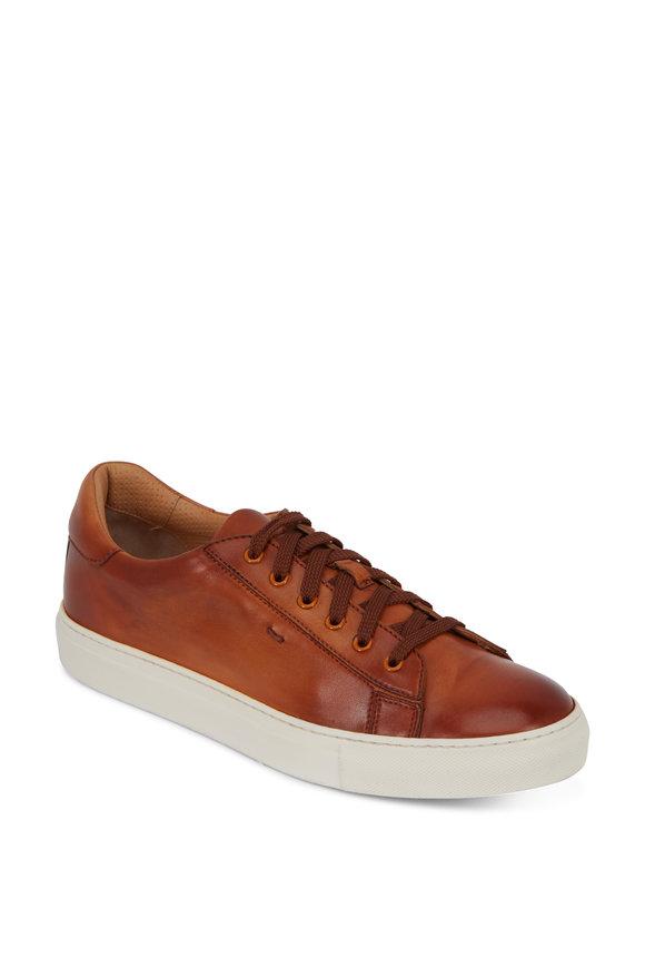 Santoni Apache Tan Burnished Leather Sneaker