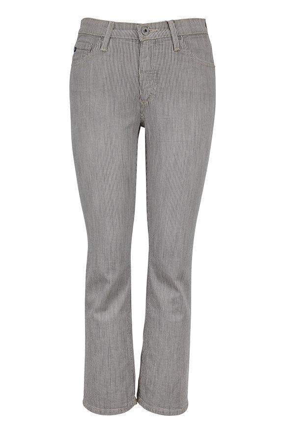 AG - Adriano Goldschmied Jodi Striped High-Rise Slim Flare Crop Jean