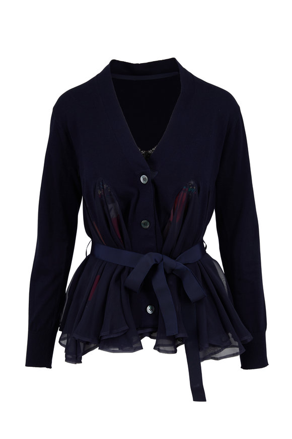 Sacai Navy Blue Silk Inset Short Belted Cardigan