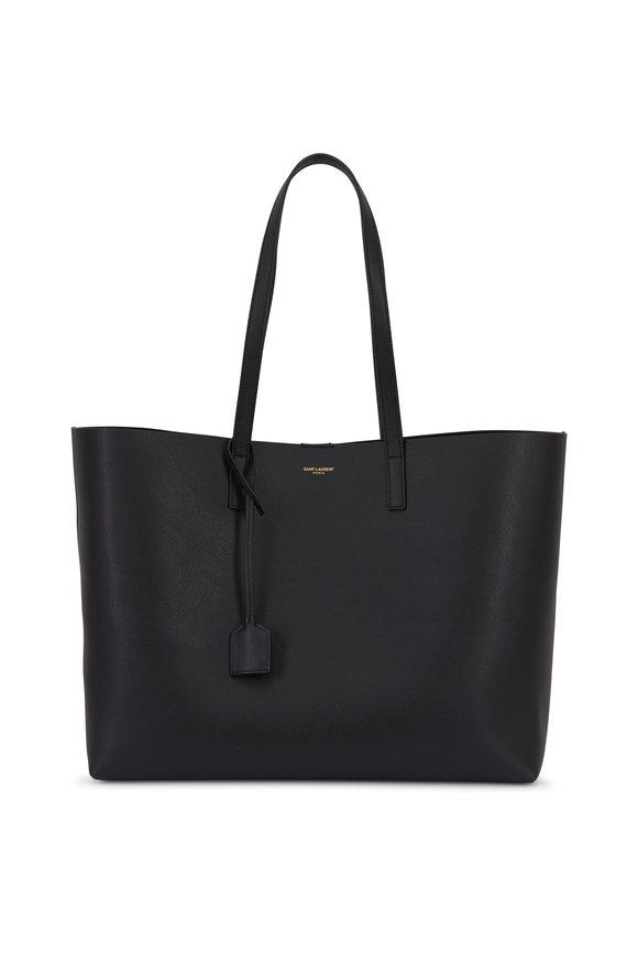 Saint Laurent Black Leather Large Shopper Tote