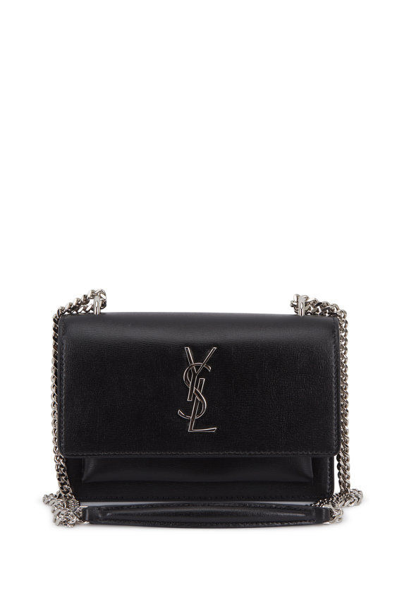 Saint Laurent Sunset Black Leather Chain Wallet
