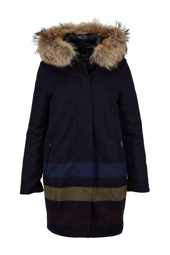 Woolrich All Good Navy Blue Striped Detail Fur Hood Coat