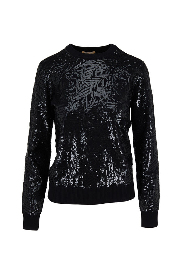 Michael Kors Collection Black Cashmere Pailette Sweater