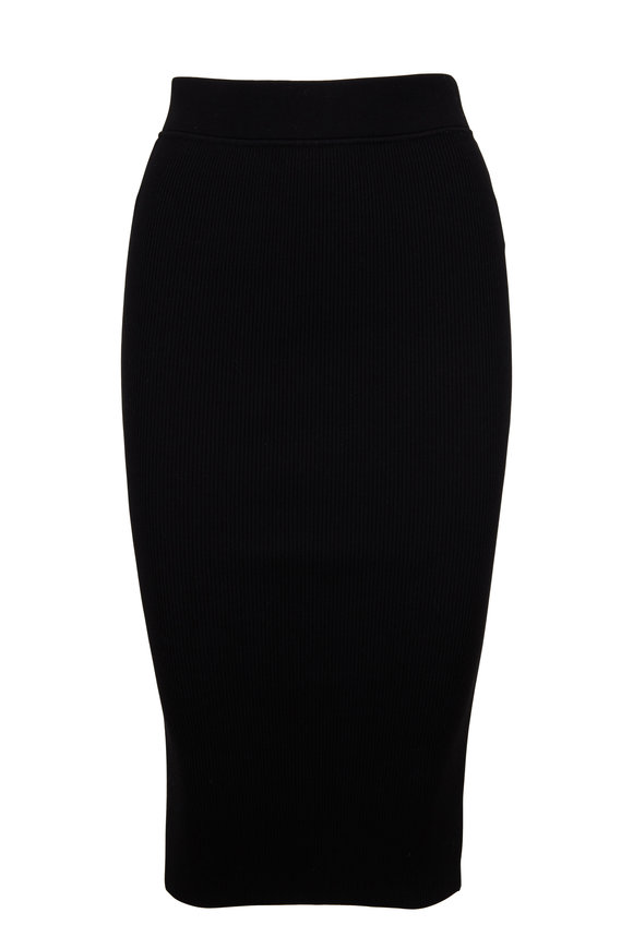 Michael Kors Collection Black Ribbed Knit Pencil Skirt