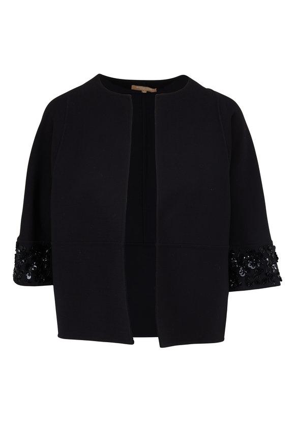 Michael Kors Collection Black Wool Sequin Embellished Jacket