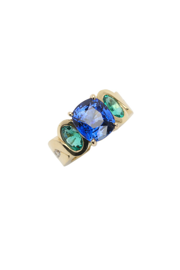Frank Ancona Yellow Gold Sapphire & Emerald Cocktail Ring