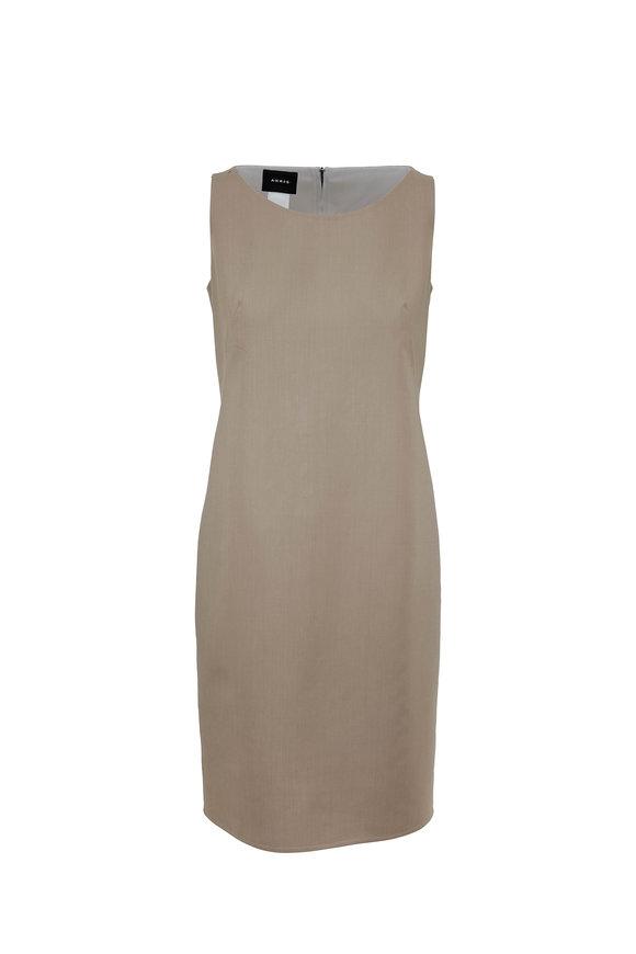 Akris Taupe & Paper Reversible Sheath Dress