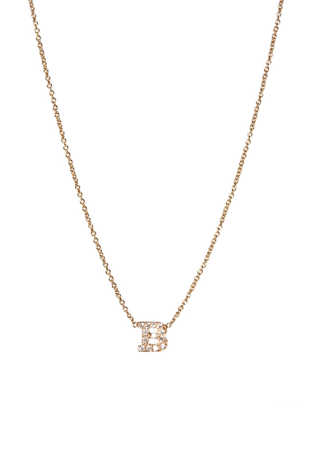 "Yellow Gold Diamond ""D"" Necklace"
