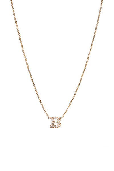 "Zoe Chicco - Yellow Gold Diamond ""D"" Necklace"